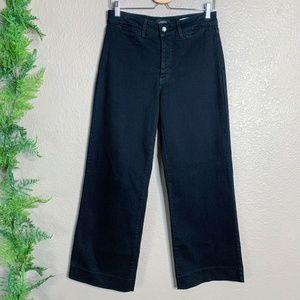 NYDJ Wide Leg Jeans Black High Rise Stretch 6